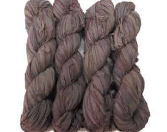 New! Premium  Sari Silk  Ribbon yarn , 100g (50 yards) color Ash