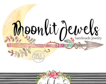 Arrow Moon Logo -  Jewelry Logo, Premade Boho Logo, Custom Logo, Watercolor Design Logo, Arrow Logo, Boutique Logo