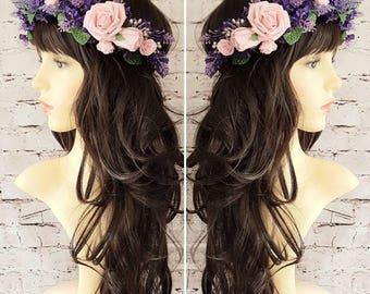 Rose & Lavender Flower Crown