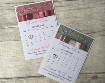 Glitter Calendar Save the Dates, Wedding Save the Dates, ANY COLOURS, Wedding Invitation, Party Invitation