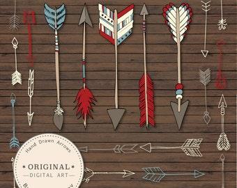 Premium Hand Drawn Native Arrow Clip Art & Vectors - Arrow Clipart, Tribal Clipart, Arrow Vectors, Arrow Clip Art, Native American Clip Art
