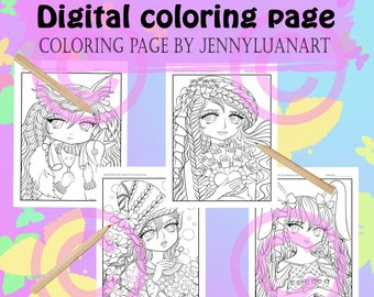Anime Doodle Girls Coloring Pages PDF download by JennyLuanArt