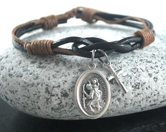 St Christopher cross brown Leather bracelet. Saint Christopher bracelet Catholic Safe Travels bracelet silver cross Male confirmation gift