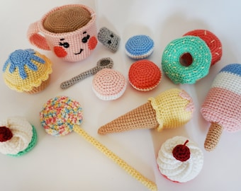 Amigurumi/food/Sweets/For baby/Children/Candy/lollipop/play/donut/Crochet cake/Toy/Sweet/Kitchen/game/Chocolate/Dessert/handmade/Ice-cream