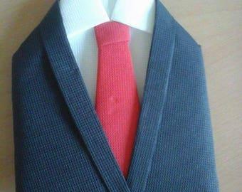 Folding towel suit, shirt, tie, black, white, Red