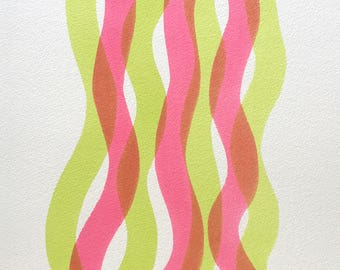 2018 special offer- Free frame and postage! Abstract original watercolour 'Arlana'. Fluid minimalist curves of transparent colour.