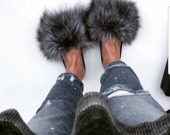 Fur slides, fur slippers, fox fur, real fur slides, slides, genuine fur slides, fur sandles