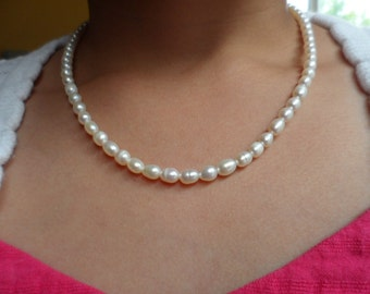 Wedding Pearl Necklace - Flower Girl and Junior Bridesmaid Gift - Genuine Natural White Freshwater Pearl + FREE Earrings
