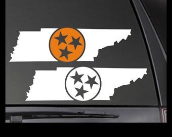 Tennessee State Tri Star Vinyl Decal - Car/Truck/Window Sticker TN-00001