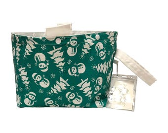 Green Snowmen Project Bag Bucket Bag size large