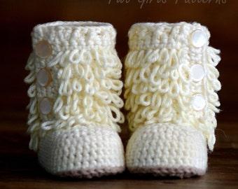 Baby Crochet Boots Pattern - Furrylicious Booties- Loop-de-Boots - Pattern number 200 Instant Download  kc550