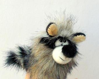 Little little raccoon. For finger theatre. Toy thimble. Penlight theatre. Finger puppet.