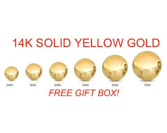 14K Solid Yellow Gold Ball Stud Earrings Sizes:2-7mm High End Quality