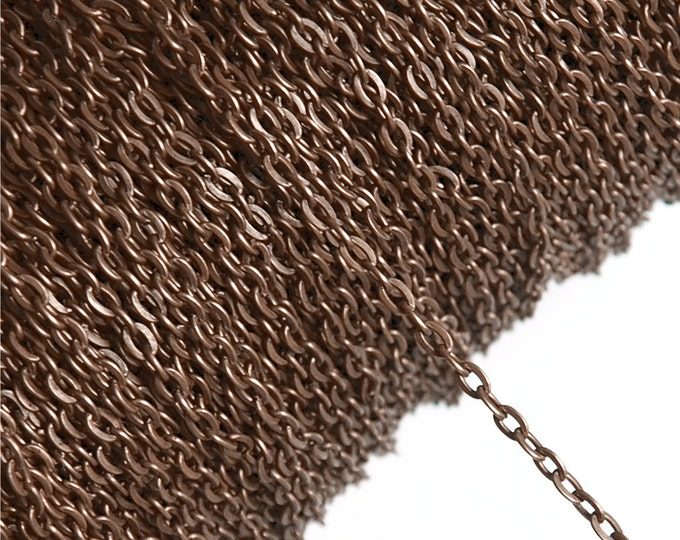 CLOSEOUT - Chain, Cable Flat 3mm, Antique Copper - 100 Meters (CHIAC-CAF30)