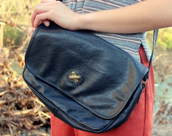 Vintage Mitzi Navy Blue Shoulder Bag