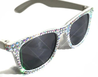 Bling white sunglasses - custom sparkly sunglasses - bride sunglasses - crystal sunglasses - beach sunglasses - unique sunglasses -