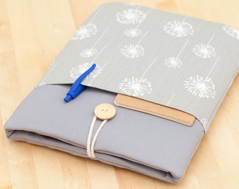 13 inch Macbook  retina, pro, air case / Macbook pro 13 case /  Laptop sleeve / padded with pockets  - grey dandelion -