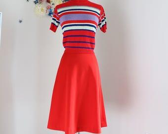 "1950s A-line Skirt - Midi - Red - Full Flare Skirt - Rockabilly - Classic Vintage Dancing Skirt - Handmade - Extra Small/Small 25"" Waist"
