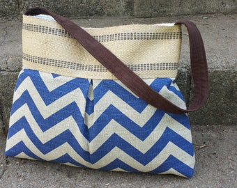Blue and Grey Chevron Zig Zag Pleated Handbag Purse Tote Bag with Jute Webbing