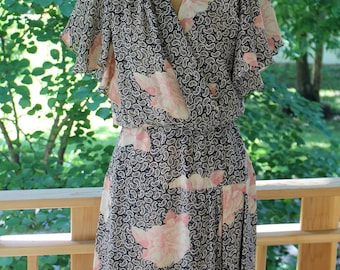 Vintage 1970's - 1980's Faux Wrap Dress With Flutter Sleeves