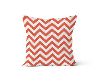 Coral Chevron Pillow Cover - Zig Zag Coral - Lumbar 12 14 16 18 20 22 24 26 Euro - Hidden Zipper Closure