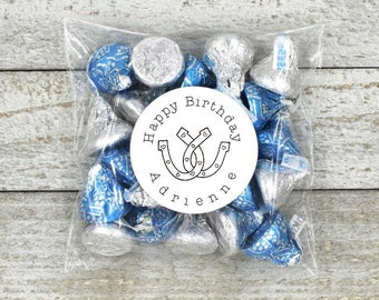 Birthday party favor stickers, personalized stickers, Happy Birthday stickers, horseshoe design, favor stickers, favor labels, western party