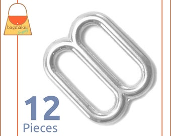 "3/4 Inch Cast Slides for Purse Straps, Nickel Finish, 12 Pieces, .75 Inch, 3/4"", .75"", Handbag Purse Bag Making Hardware Supplies, BKS-AA005"