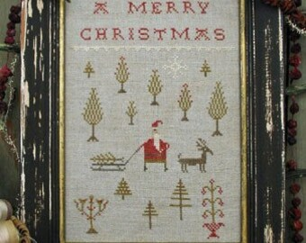 Cross Stitch - Bringing Home the Tree - Choose Pattern Only or Pattern with Floss Kit