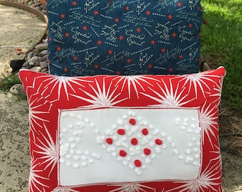 Vintage Chenille  Pillow - Vintage Starburst Trim - Cottage Room Accent - Summer Room Accent - Patriotic Room Accent - Americana - July 4th