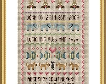 Baby Girl Birth Sampler Cross Stitch FULL KIT