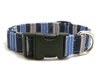 Blue striped pet collar - Blue and gray striped dog collar - Blue striped adjustable dog collar - Boy dog collar