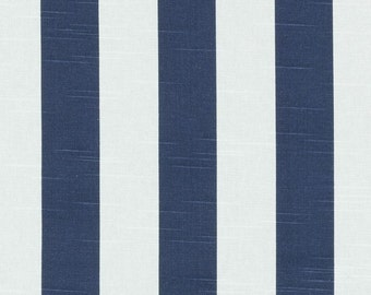 ON SALE - Navy Blue Cotton Stripe Upholstery Fabric - Blue White Wide Stripe Fabric