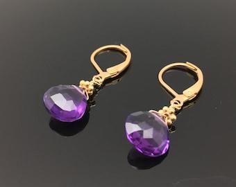 Amethyst Earrings // Gold Fill Findings // Lever Ear Wires // Wire Wrapped Amethyst Earrings