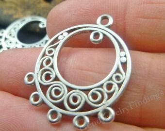 2 pc Antique Silver Earrings Components - Earrings Settings - Links , Connectors - EF031
