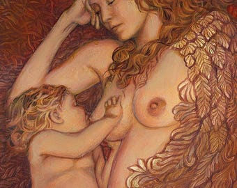 The Nestling ACEO ATC Mini Print Altar Art Fine Art Print Mythology Art Nouveau Angel Surreal Breastfeeding Mother and Child Goddess Art