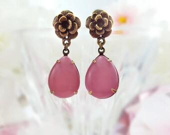 Pink Rose Earrings - Vintage Glass Earrings - Rose Earrings Pink - Pink Teardrop Earrings - Flower Dangle Earrings - Pink Jewelry Gift E9320