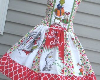 Ready to Ship Custom Grinch Girl Whoville Dress Will fit Size 5 or 6