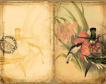 Hummingbirds Song Printable Vintage Junk Journal Kit, Journal papers, Journal Cards