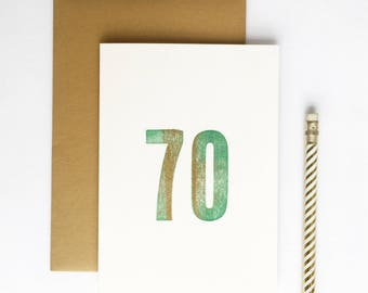 70th Birthday Letterpress Card