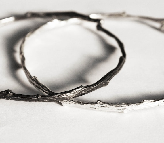 Tompkins Square Park Sterling Silver Twig Bangle Bracelet