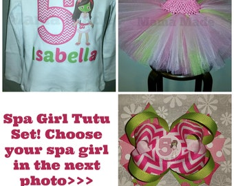 Spa Girl Birthday Tutu Outfit with SHIRT and matching hairbow Spa Girl Party Tutu Set Spa Girl,spa girl outfit, girls birthday tutu set