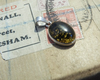 "Small vintage amber and sterling silver pendant - 925 - sterling silver - Marked 925 - 0.9"" - d"