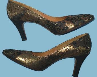 Vintage 50s Brocade High Heel Shoes 8 AAA