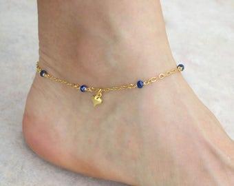 Gold heart ankle bracelet, Lapis anklet, Gold ankle bracelet, Gold heart anklet