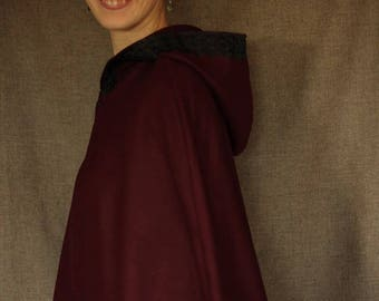 Burgundy Cape with hood lined with Black Lace Cape Diem