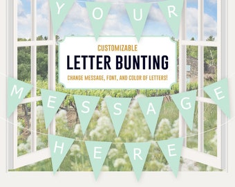 Fillable Banner - editable banner, letters banner, mint bunting, party decor, party printable, custom banner message, template, baby shower