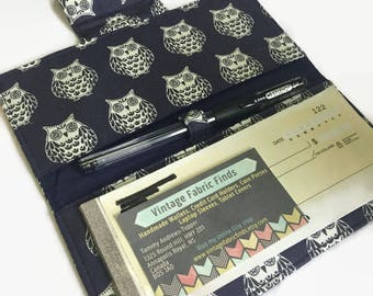 Checkbook Cover, Owl Checkbook, Fabric Checkbook Cover, Checkbook Holder,  Organizer, Check book case, Checks, Owl