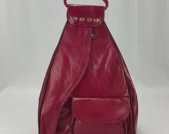 Handcrafted Leather Backpack Purse Fuschia Large Guitare