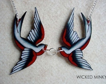 Black White and Red Kissing Tattoo Sparrow Swallow Bird Necklace