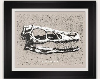 Velociraptor Print - Cretaceous - Dinosaur Fossil Skull - World Science Kid Bedroom Office Home Decor Gift Ideas - 11x14 Inches - Poster Art